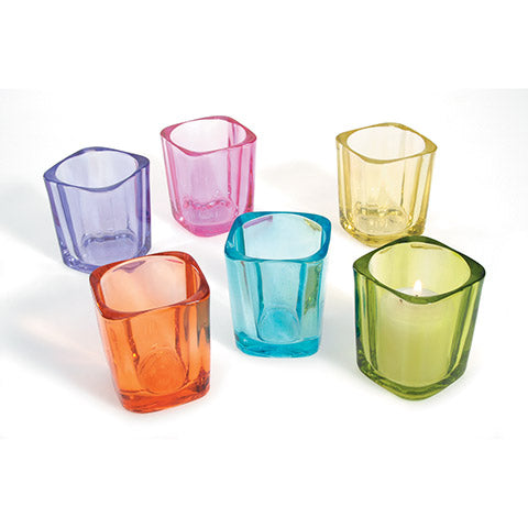 Candle Holder - Assorted Colored Glass - 2.5 Inches