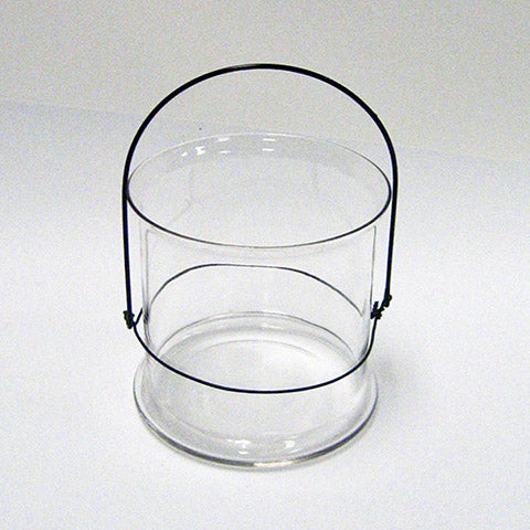 Candle Holder with Steel Handle - Clear Glass - 4-1/2 x 5 Inches