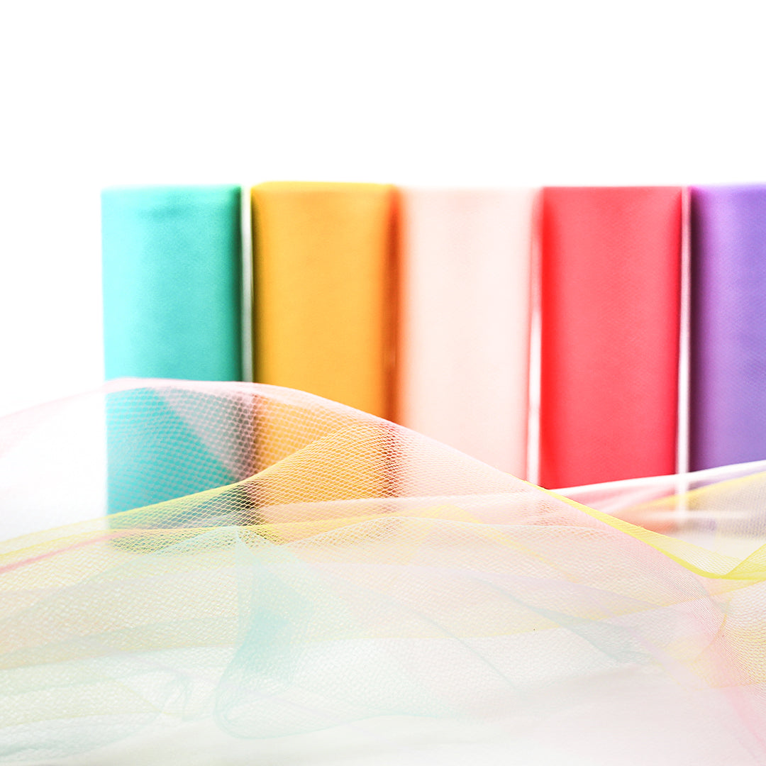 Pretty Rainbow Tulle Spool Assortment 6 Inch x 25 Yard Pack of 5