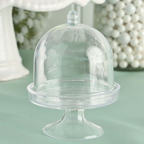 Clear Mini Cake Plate W/Stand And Dome Cover 2 Inch x 3 Inch Pack of 12