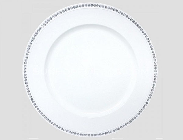 Round Rhinestone Charger Plate 13 Inch