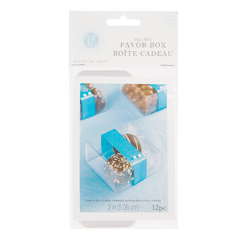 2 Inch Square Clear Plastic Favor Box Pack of 12