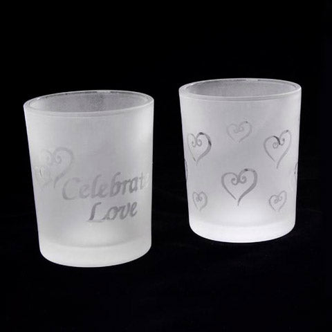 Frosted & Etched Glass Votive Candle Holders - Love Theme - 2 Assorted