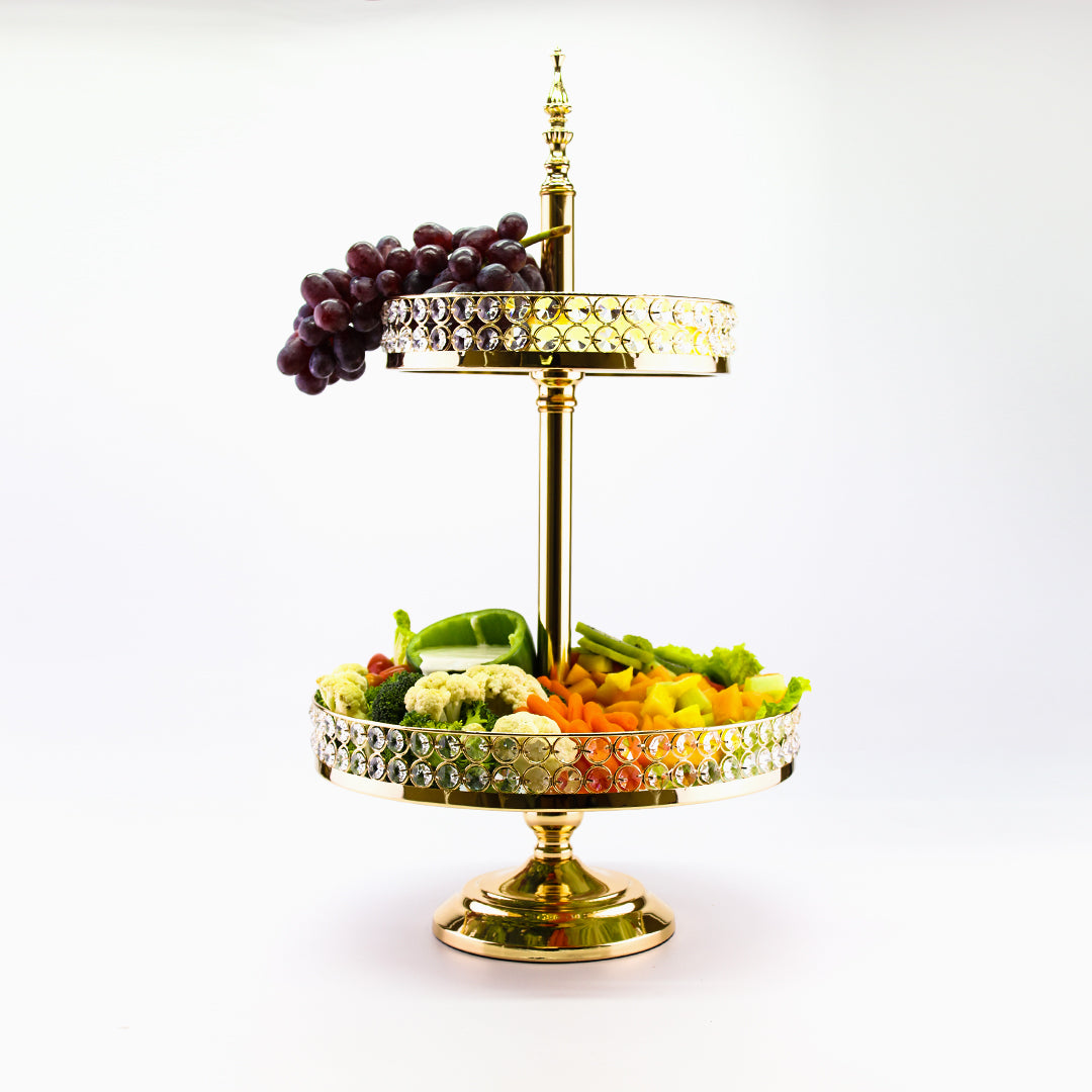 26 Inch 2 Tier Server Stand Gold Crystal Beaded Baskets Metal Cupcake Stand