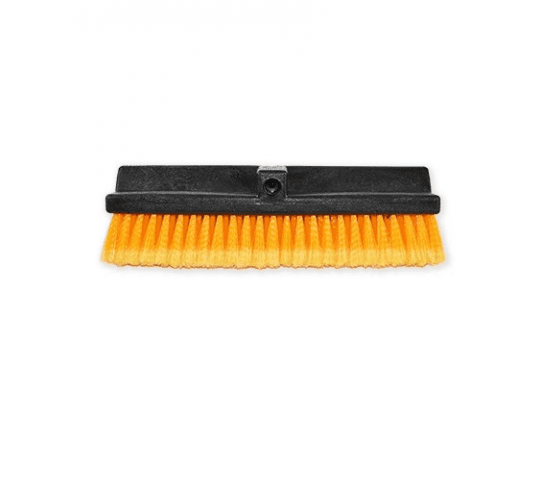 Orange Car Wash Brush Head W/Flow Thru, Bi Level, Feather Tip Bristles 15 Inch