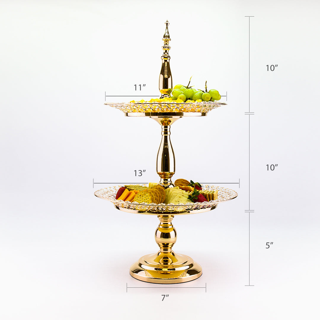 25 Inch 2 Tier Server Stand Gold Crystal Beaded Plates Metal Cupcake Stand