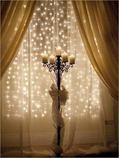 White Organza Wedding Curtain W/Yellow LED Lights 3 Feet x 9 Feet