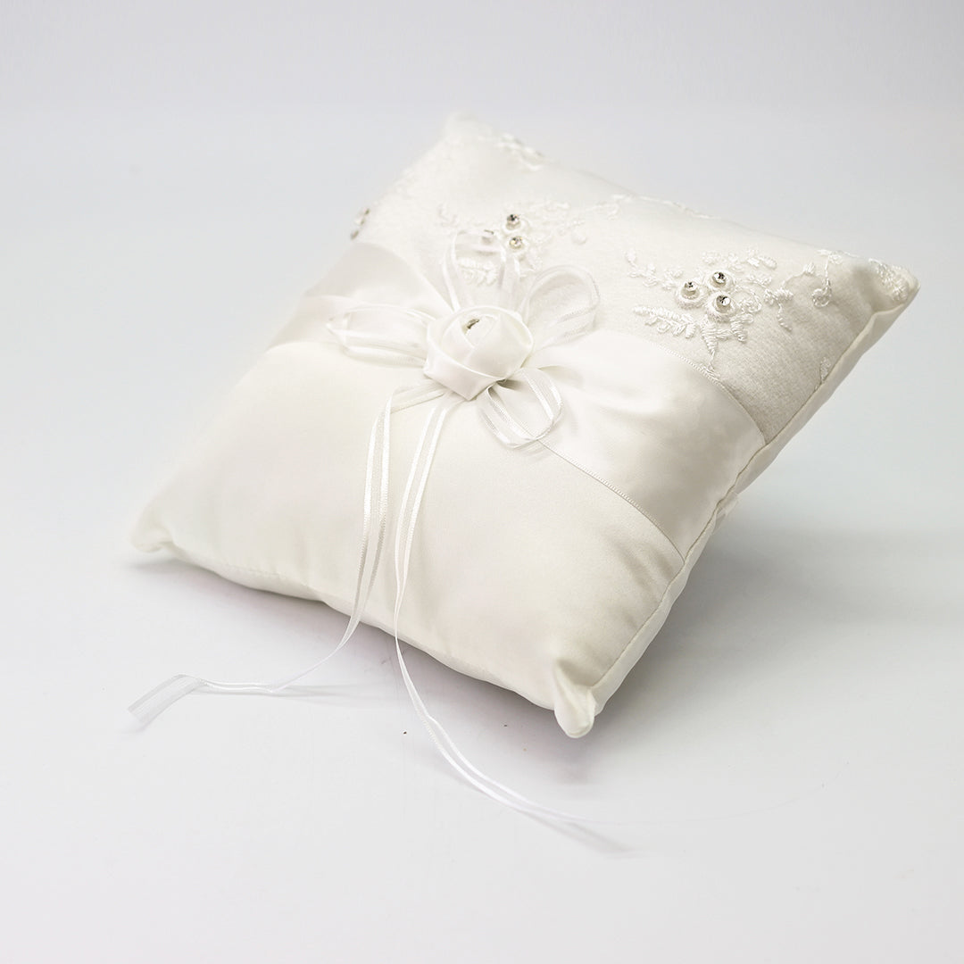 Wedding Ring Pillow with Rhinestone Organza Flower