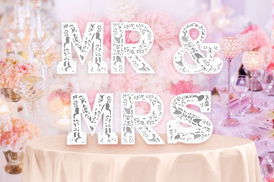Multicolor Mr & Mrs LED Lights Wedding Sign 19.5 Inch