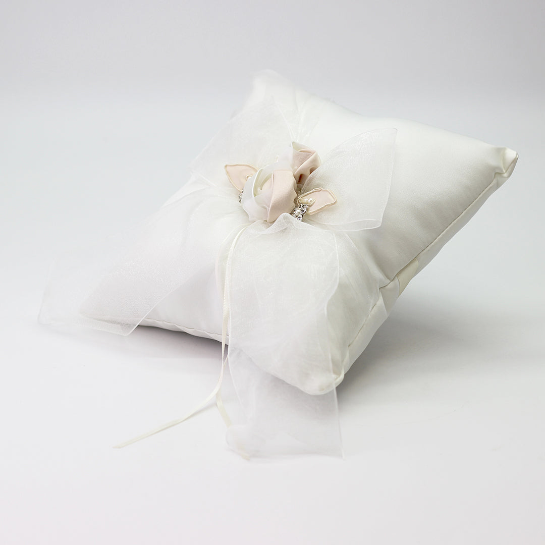 Ivory Square Ring Pillow W/Organza Bow