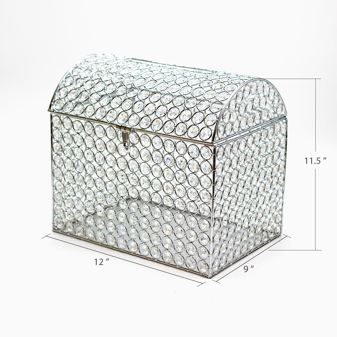 Silver Crystal Beaded Wedding Card Keeper Money Box