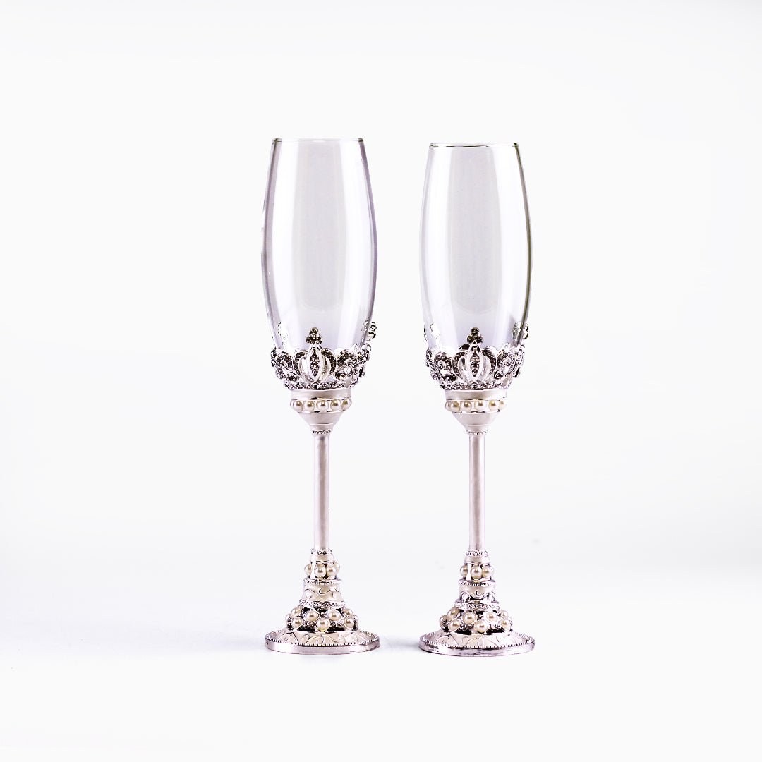 10 Inch Beaded Crown Wedding Toasting Champagne Flute Glass Set of 2