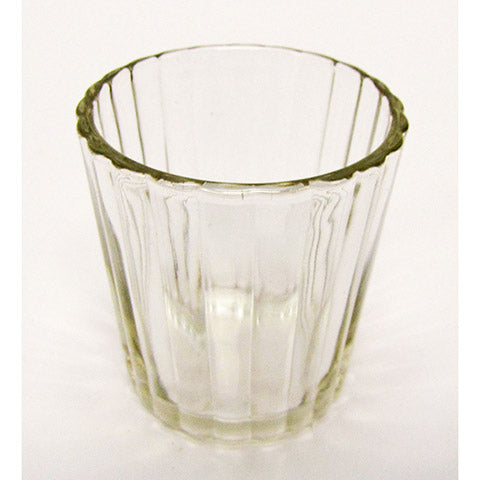 Votive Candle Holder - Clear Glass - Scalloped Edge