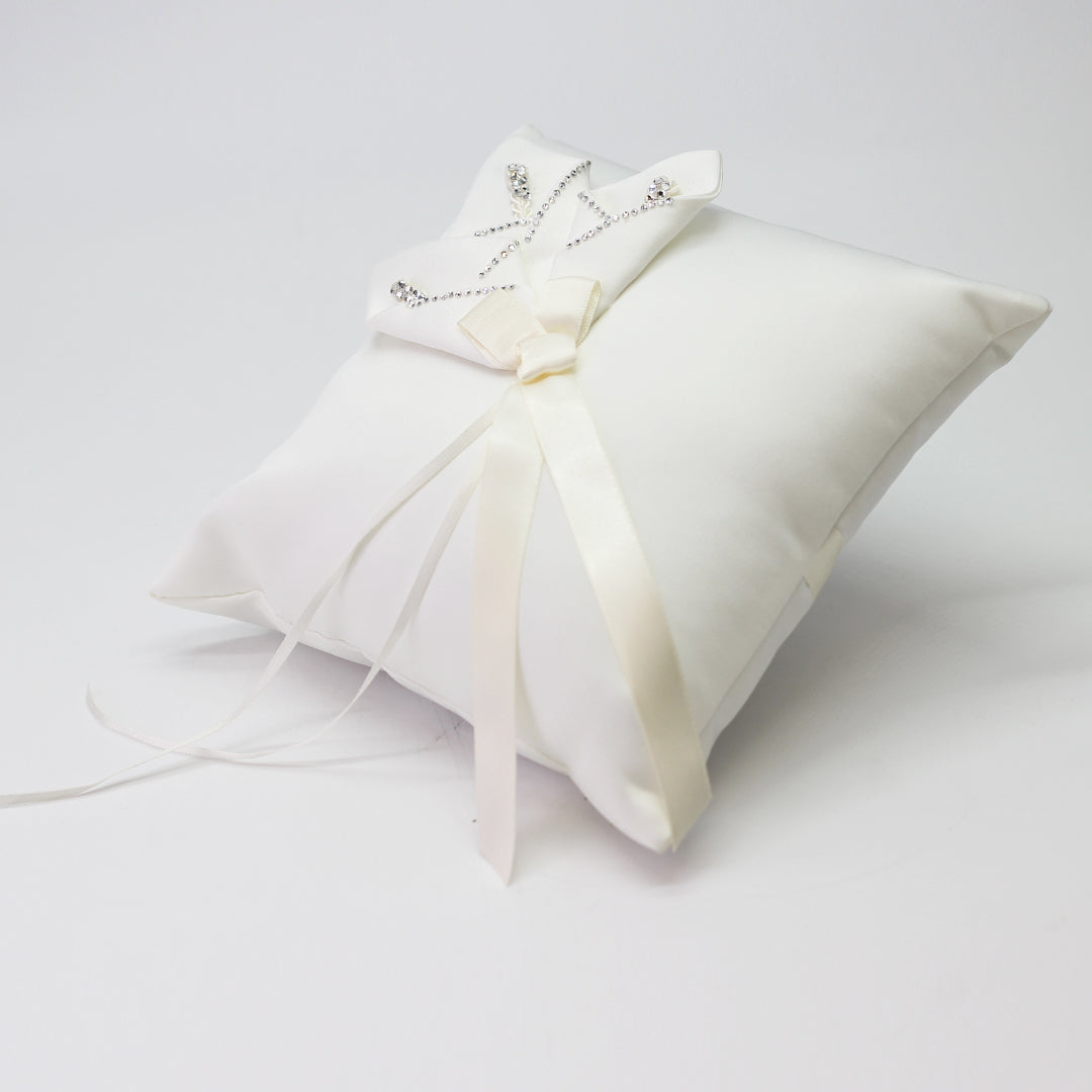 Ivory Ring Pillow w/Calla Lily 8 Inch x 8 Inch