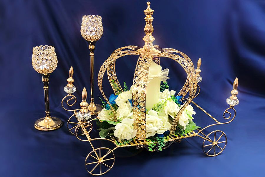 Cinderella Pumpkin Carriage 22.5 Inch x 11 Inch x 21 Inch W/ Gold Crystal Beaded Coach