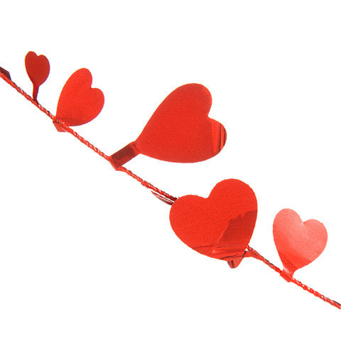 Garland - Heart - Metallic Red - 9 feet