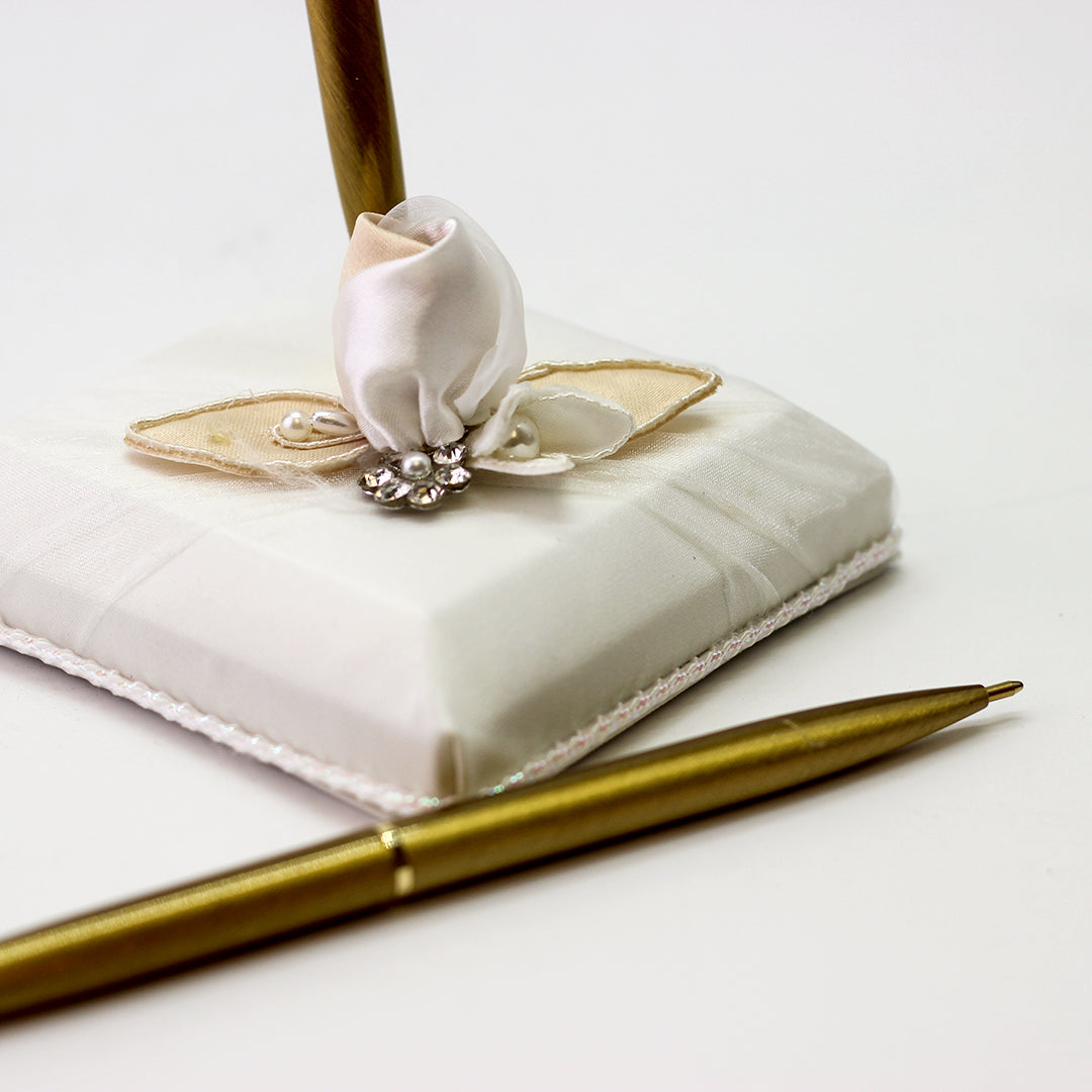 Weddings Bridal Ivory Rose Pen and Holder Set