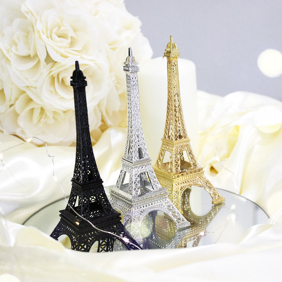 Eiffel Tower Paris France Metal Stand Statue Model for Home Decor or Wedding Theme Silver
