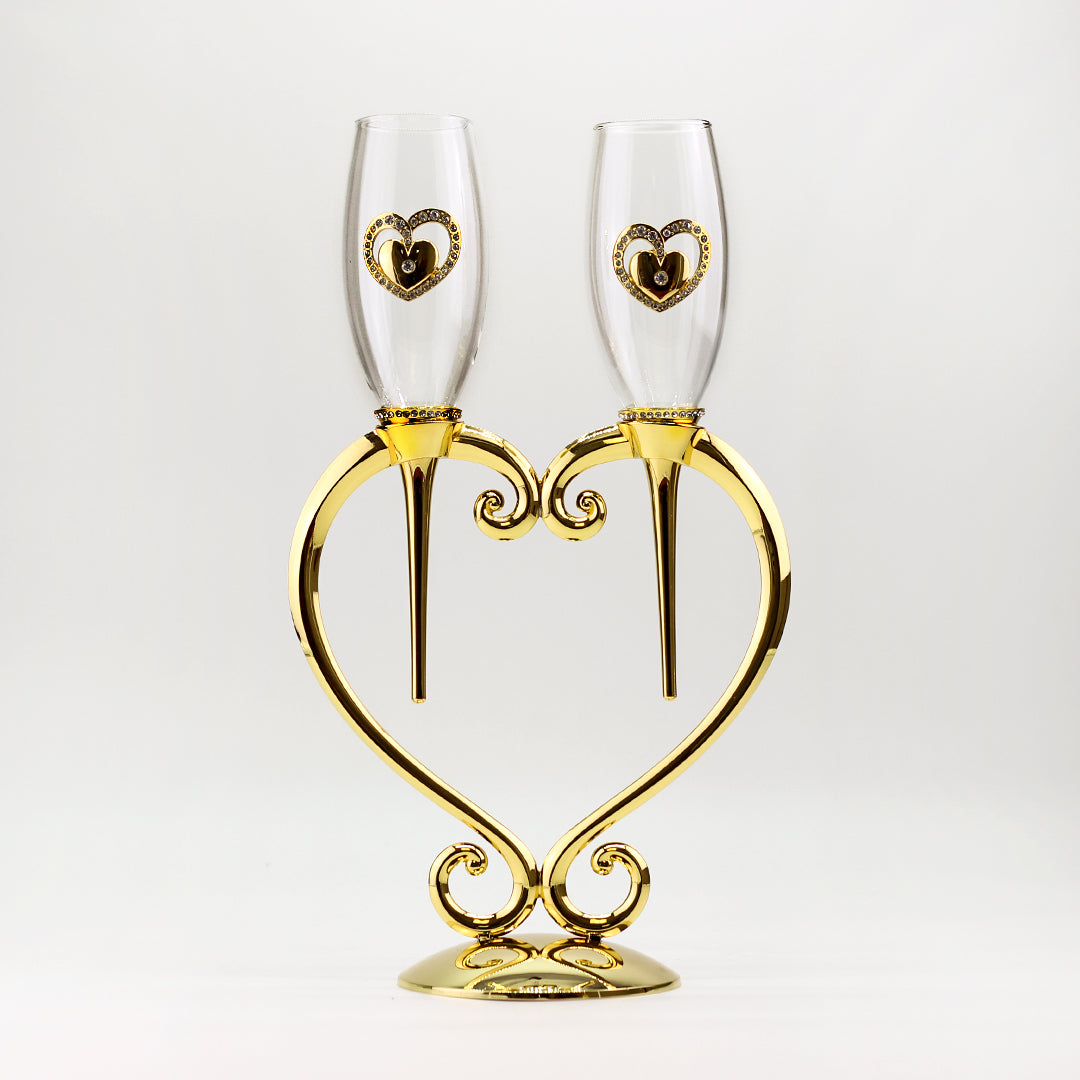 Wedding Toasting Champagne Flute and Heart Sand Set