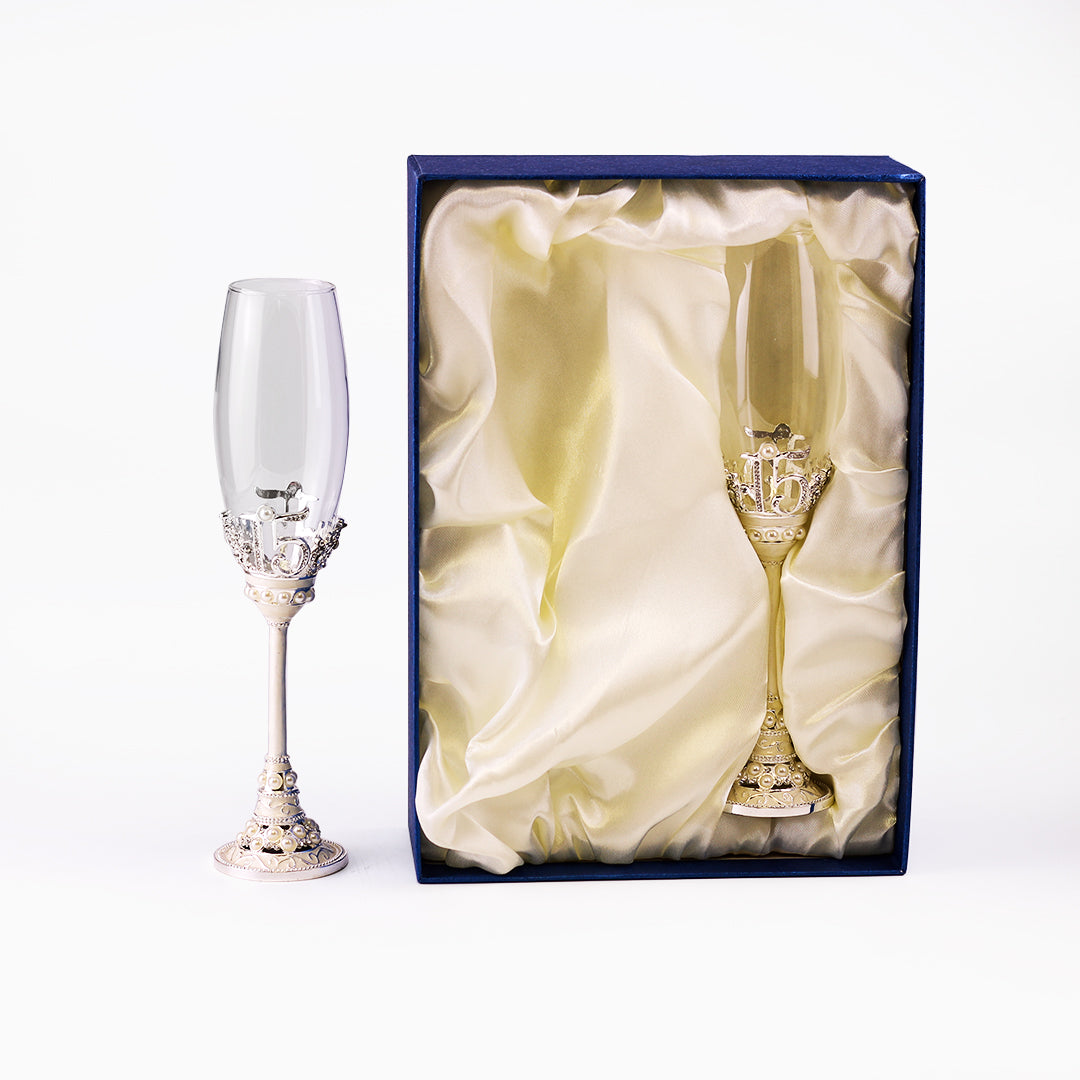 Toasting Champagne Flutes w/Crystal & Pearl #15 Glass Set of 2