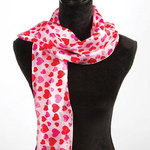 Heart Print Valentine Scarf - Multicolor - 12.25 x 55 Inches