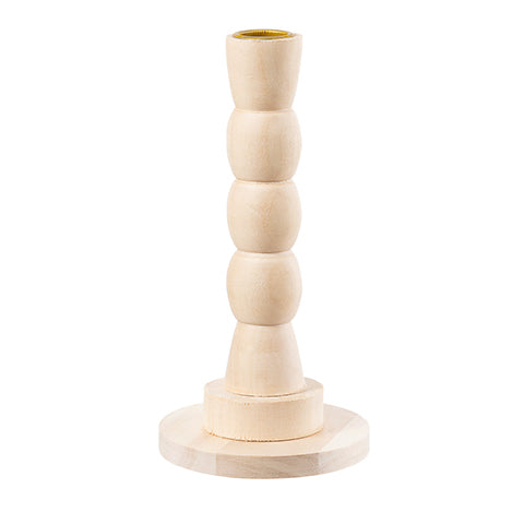 Unfinished Wood Candle Holder - 3-Ball Stem - 2.25 x 6.5 Inches