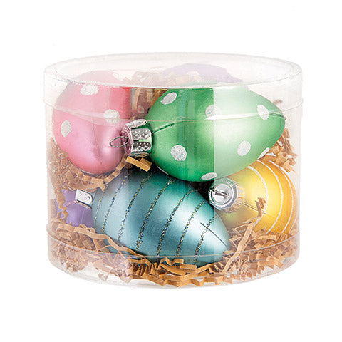Plastic Easter Egg Ornaments: 2.56 inches - Assorted Colors - 7 pieces