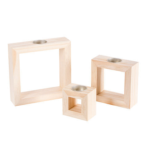 Decorative Wooden Square Candle Holders: 3 Assorted Sizes