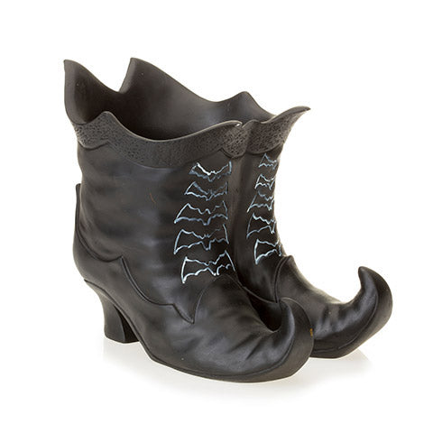 Witch Boots Candle Holder: Polyresin, Black, 5 x 7.5 Inches