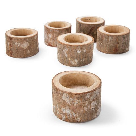 Wooden Tea Light Holders: 2 x 1.5 Inches, 6 Pack