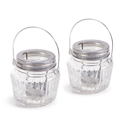 Mason Jar Tea Light Holder: Clear/Silver, 3.54 x 3.43 Inches