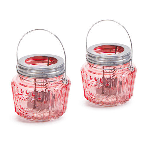 Mason Jar Tea Light Holder: Pink/Silver, 3.54 x 3.43 Inches
