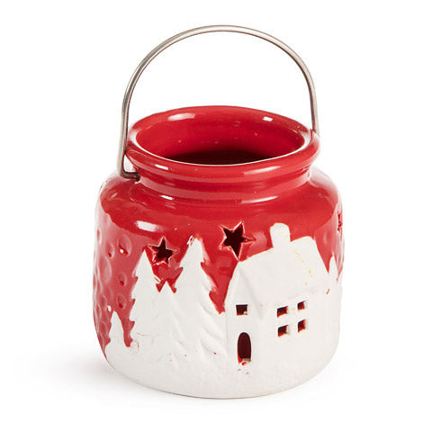 Ceramic Candle Holder Lantern: Red/White, 3.46 x 3.14 Inches