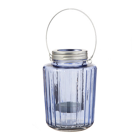 Mason Jar Tealight Holder: Blue, 5.5 x 7.5 Inches