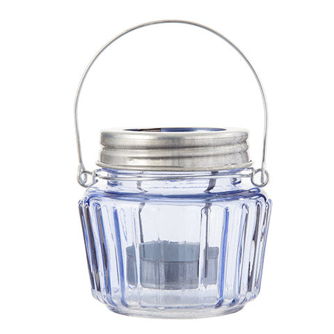 Mason Jar Tealight Holder: Blue, 3.5 x 3.25 Inches