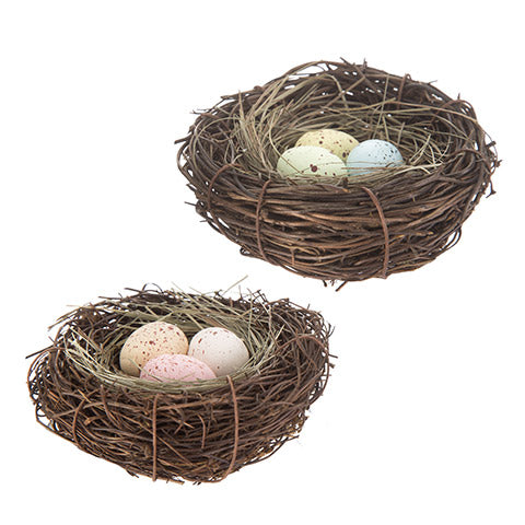 Mini Bird Nest Decoration: 4 x 1.5 inches, 2 Assorted Styles