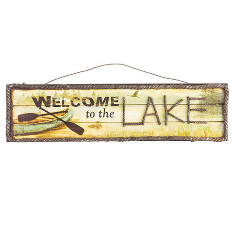 Welcome to the Lake Wall Plaque Sign, 18 x 6 inches