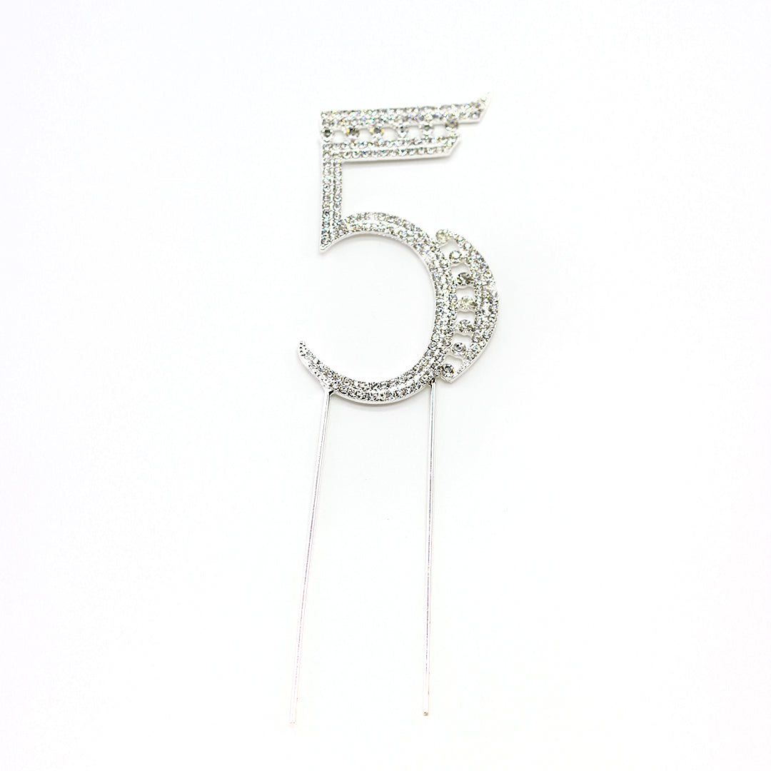 Cake Topper Silver Rhinestone Studded
