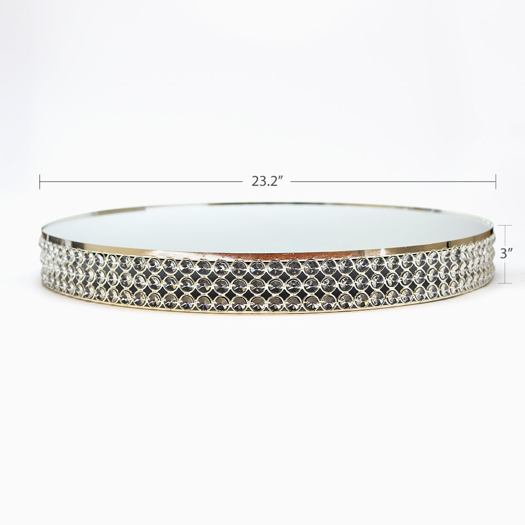 Silver Crystal Beaded Metal Riser Cake Stand 23.3 Inch