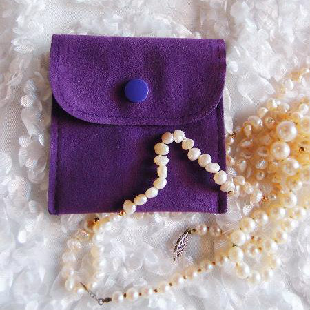 Velvet Jewelry Pouch with Snap Fastener 3 Inch x 3 Inch Pack of 12 Pieces