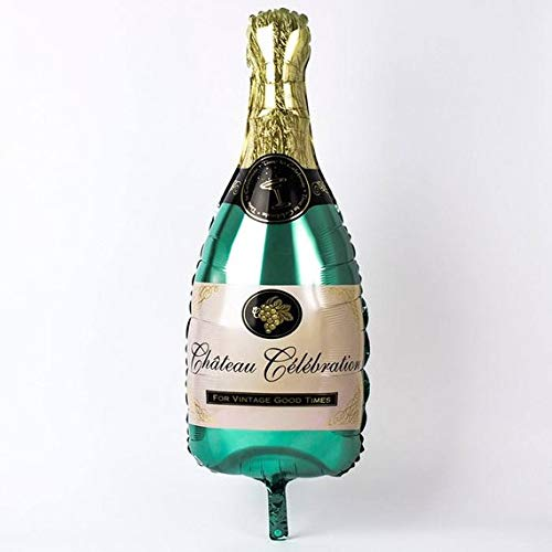 Inflatable Green Champagne Bottle Mylar Foil Balloons Birthday, Wedding, Bachelorette Party