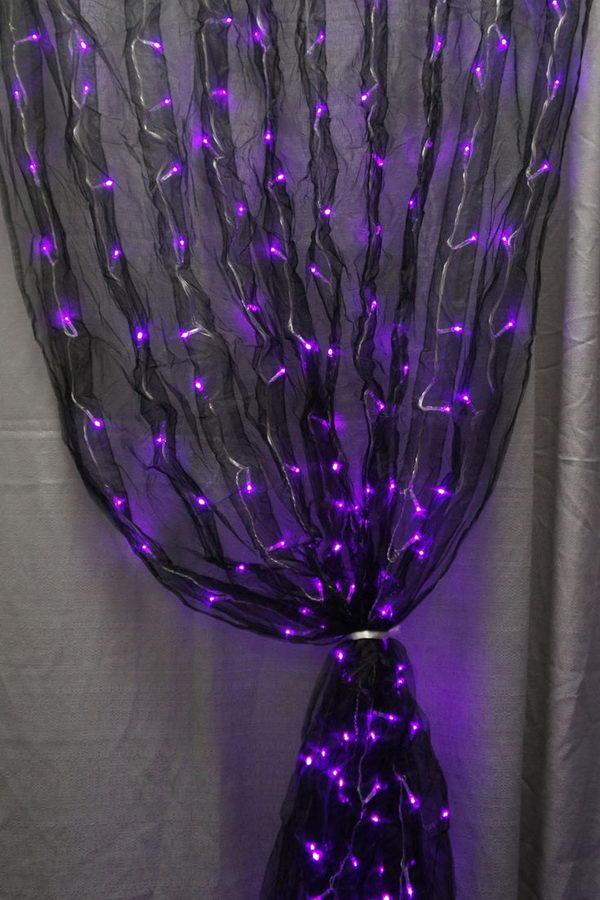 Black Organza Wedding Curtain 3 Feet x 9 Feet W/ Purple LED Lights