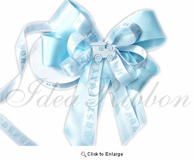 Alphabet Satin Baby Gift Ribbon 5/8 Inch x 25 Yard