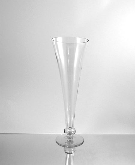 Clear Trumpet Vases W/Unique Flared Glass 6 Count