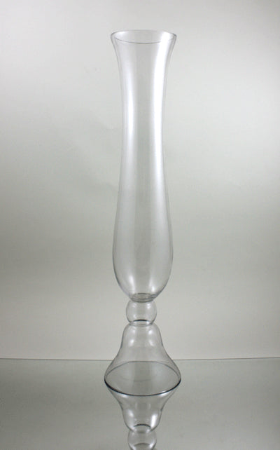 Trumpet Vases W/Clear Glass Bud