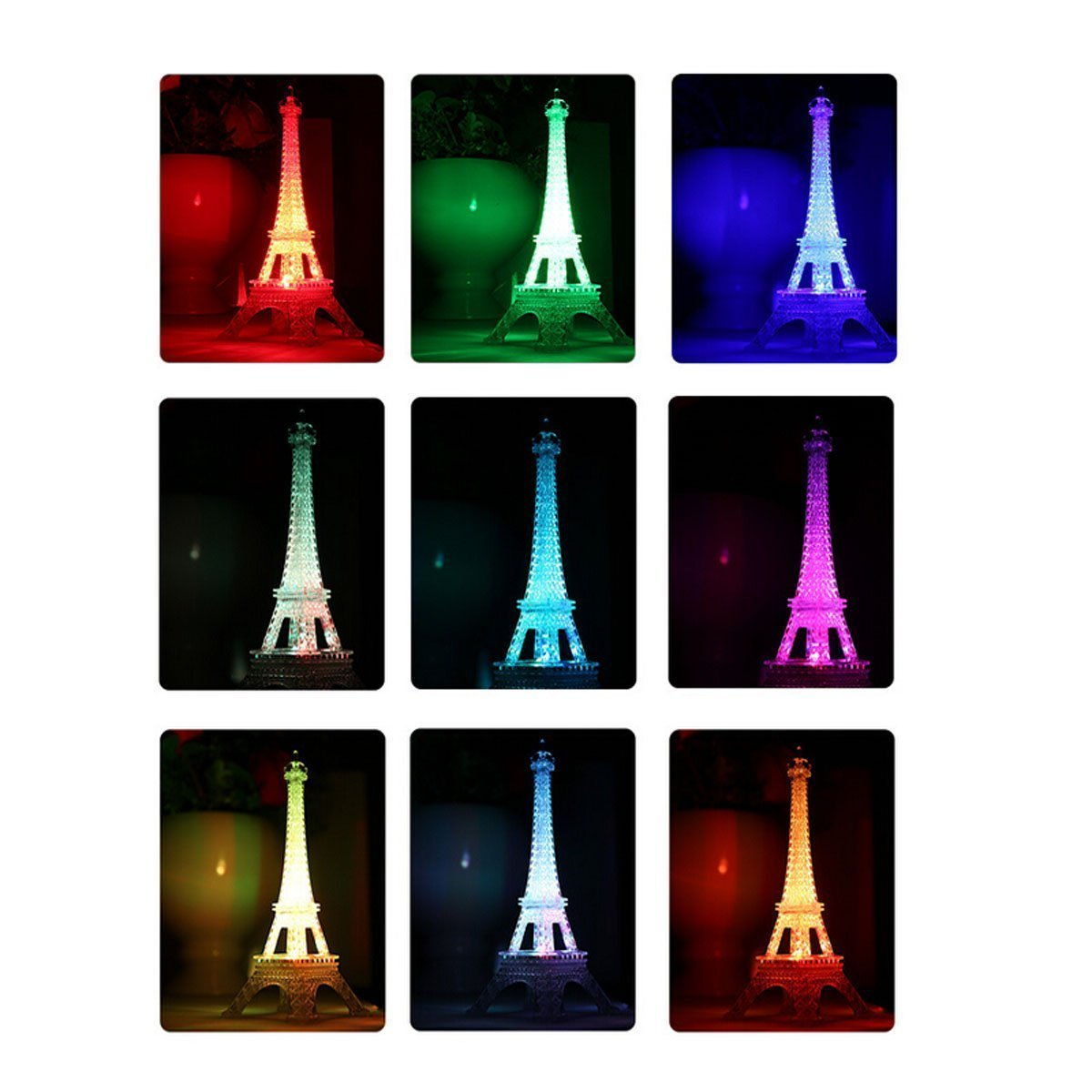 9 Inch Light Up Acrylic LED Eiffel Tower Souvenir w/ Build in Multicolor LED Lights