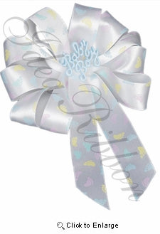 White Pastel Footprints Gift Ribbon 7/8 Inch x 25 Yard