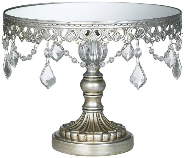 Crystal-Draped Dessert Gold Cake Stand 10 Inch