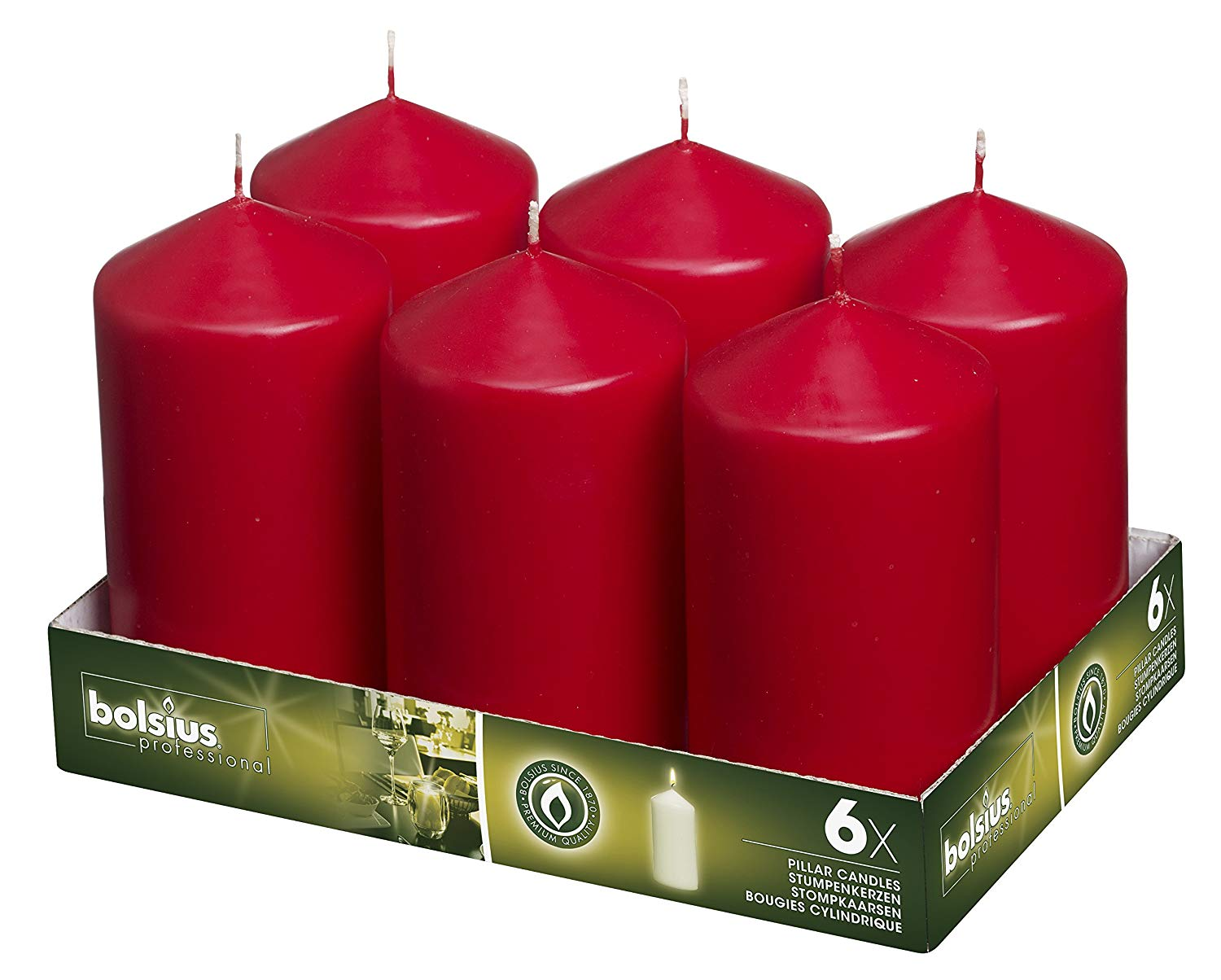 Red Pillar Wedding Candles 3 inch x 6 inch Set of 6 | BOLSIUS
