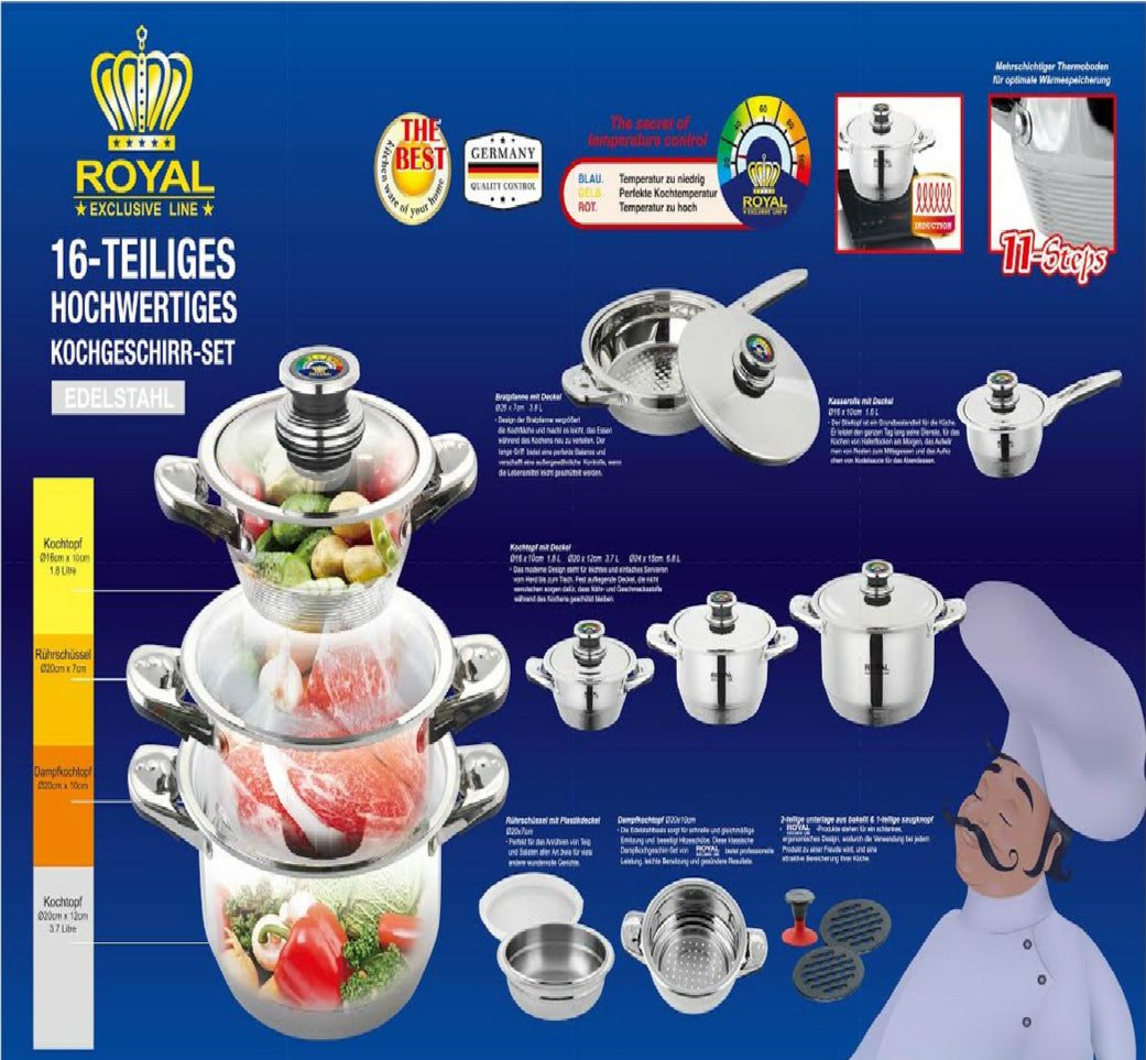 Royal Exclusive Line Gift Set 16 Pcs stock pot set with sauce pan